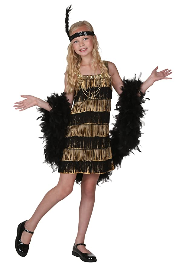 Vintage Style Children's Clothing: Girls, Boys, Baby, Toddler Big Girls Gold and Black Fringe Flapper Costume Large $29.99 AT vintagedancer.com