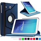 "Infiland Samsung Galaxy Tab E 9.6"" Tablet Case Cover - Premium Vegan Leather 360 Degree Rotating Swivel Stand Case Cover for Samsung Tab E SM-T560 / T561 / T565 9.6-Inch Tablet(Navy)"