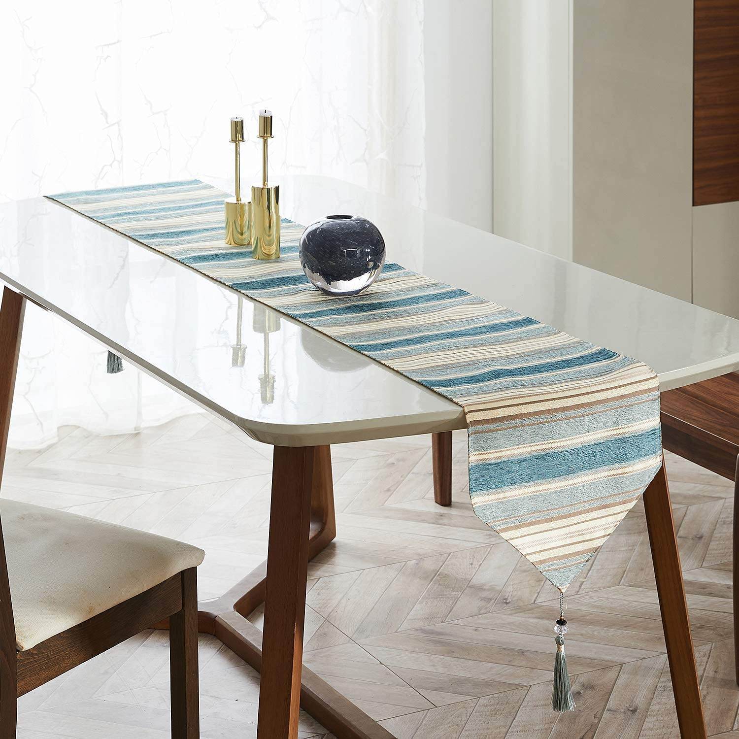 Top Finel Striped Cotton Linen Dining Table Runner with Tassels