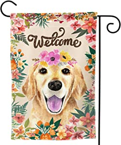 Welcome Golden Retriever Garden Flag - Flower and Dog All-Weather Flag Cute Puppy Outdoor Seasonal Flags 12 x 18 Double Sided House Flag Pet Flag Holiday Yard Decor