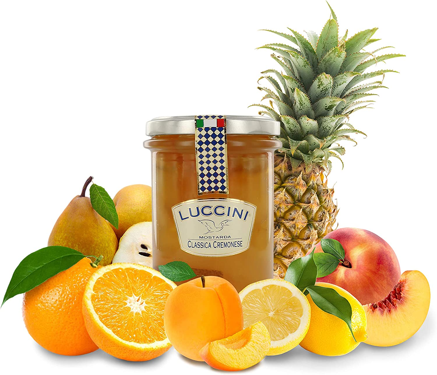 Luccini Artisanal Mostarda di Cremona, Assorted Candied Fruits - Italian Speciality Food, Traditional Recipe - 380g/13.4oz
