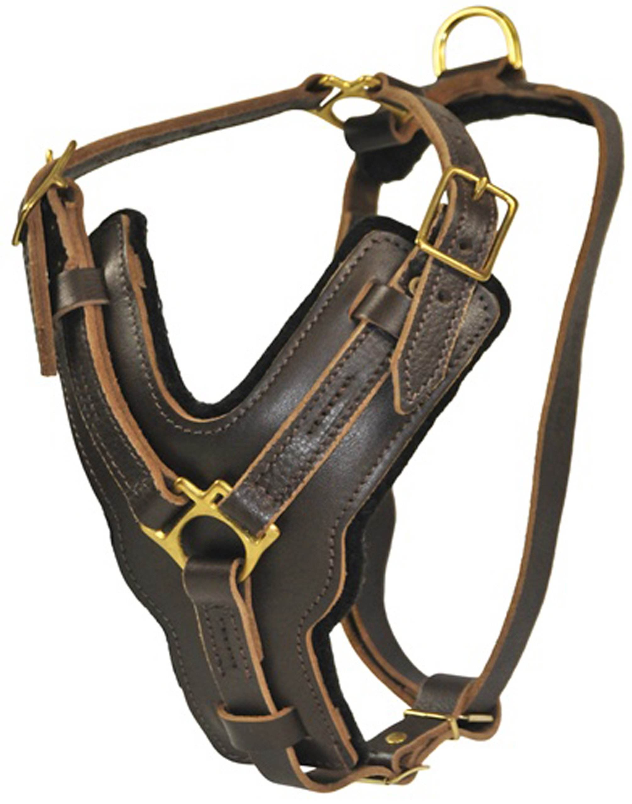 Dean and Tyler The Victory Solid Brass Hardware Dog Harness with Handle, Brown, Large - Fits Girth Size: 31-Inch to 41-Inch