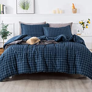 Andency Navy Grid Comforter King(104x90 Inch), 3 Pieces(1 Plaid Comforter and 2 Pillowcases) Navy Plaid Comforter Set, Geometric Checkered Comforter Bedding Set
