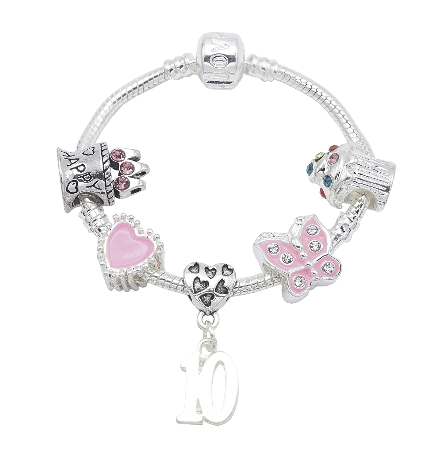 10th Birthday Silver Plated Charm Bracelet for Girls Presented in High Quality Gift Pouch Jewellery Hut BRSPKID10