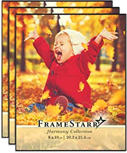 FrameStarr 8x10 Picture Frame Set, Front Loading Contemporary Modern Style, Tabletop or Wall Mount, Harmony Collection (Black, 3 Pack)
