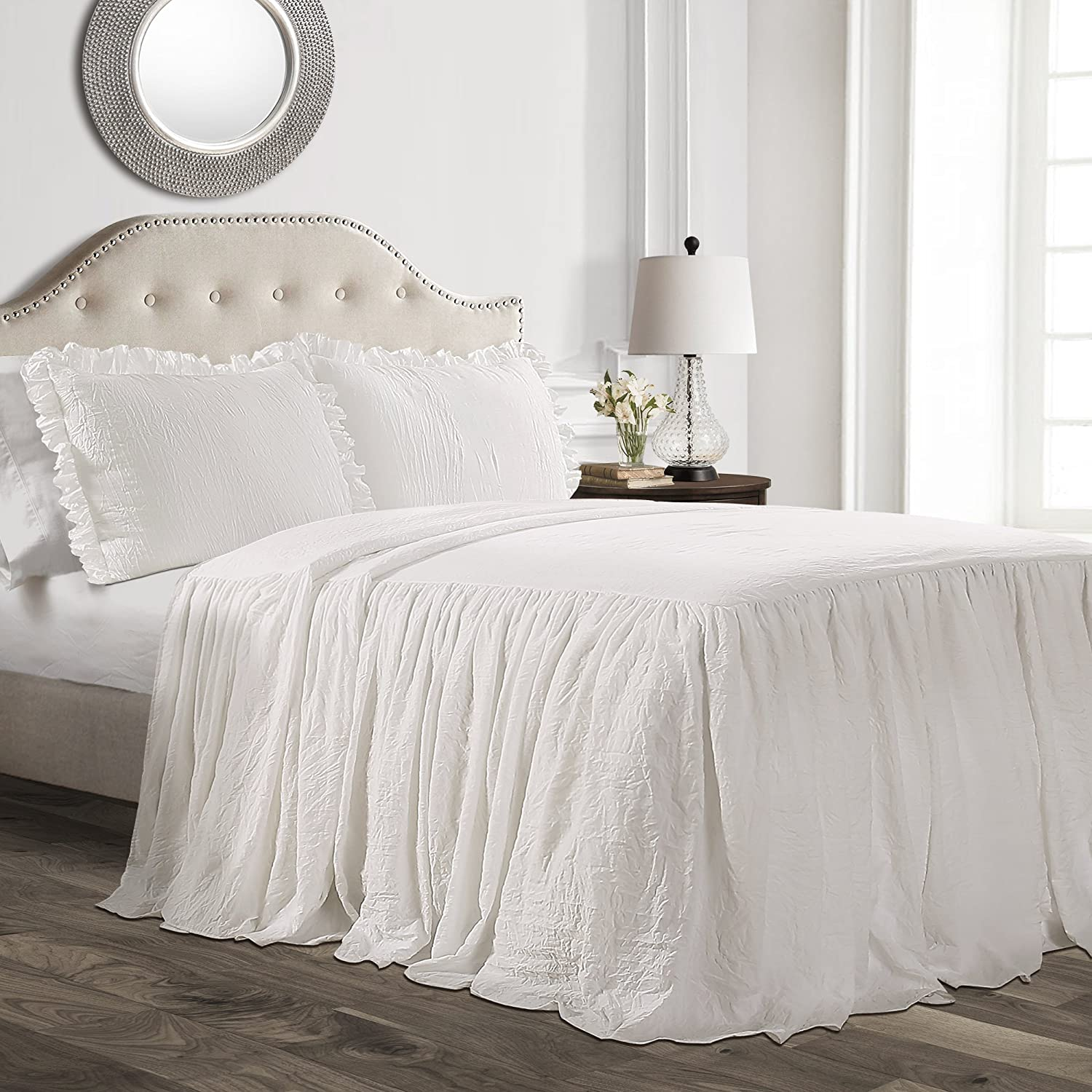 Lush Decor Ruffle Skirt Bedspread White Shabby Chic Farmhouse Style Lightweight 3 Piece Set, Queen