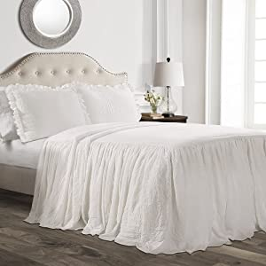 Lush Décor Ruffle Skirt Bedspread White Shabby Chic Farmhouse Style Lightweight 3 Piece Set, King,