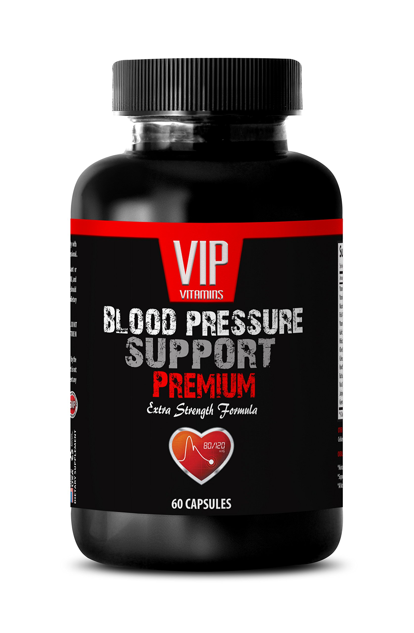 Lower blood pressure naturally - BLOOD PRESSURE SUPPORT - Natural blood pressure pills (1 Bottle - 60 Capsules)