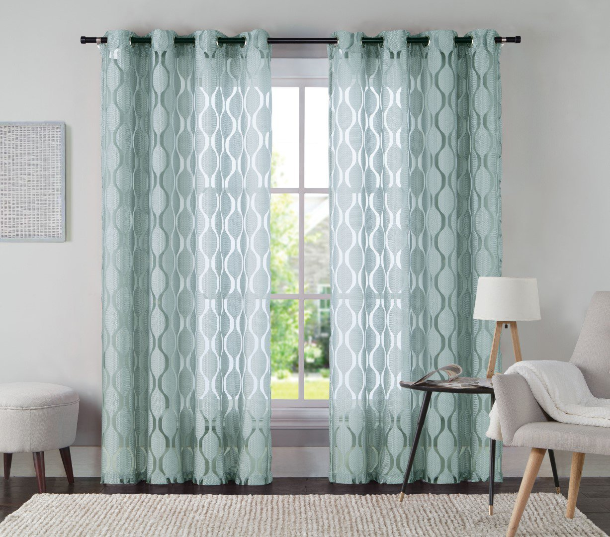 "One Jacquard Grommet Window Curtain Panel: 54"" x 84"" Spa Blue"