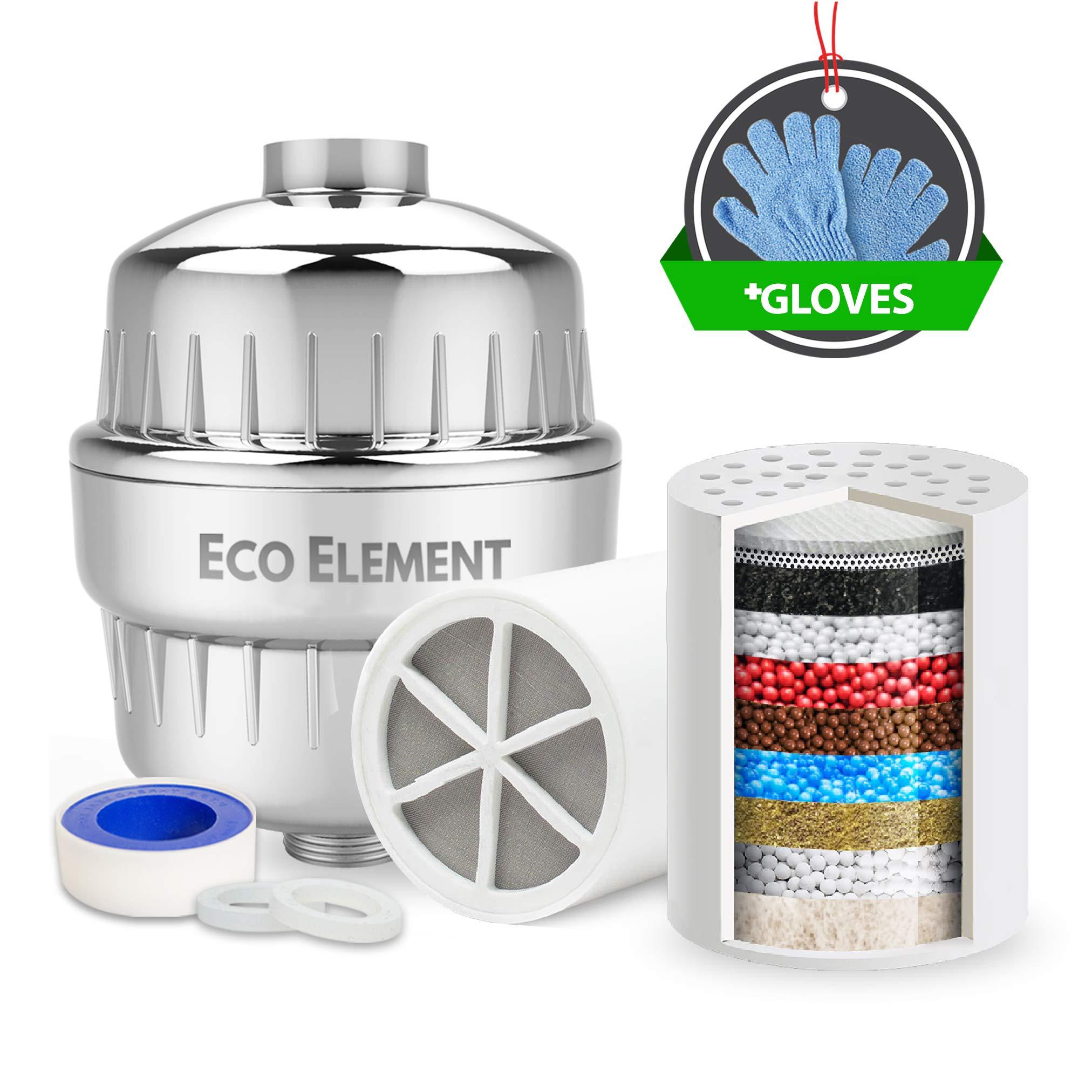 Eco Element Universal-Duschfilter. Erweiterte Filtration Einfache Einstellung. (Enthält 2 Filterpatronen + Chrome Shell + Teflonband + Scheibenringe + Duschwaschhandschuhe)