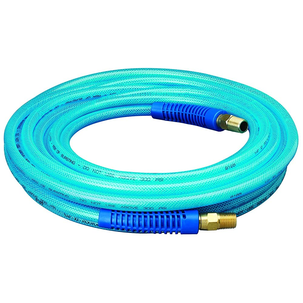 "Amflo 12-25E Blue 300 PSI Polyurethane Air Hose 1/4"" x 25' With 1/4"" MNPT Swivel Ends And Bend Restrictor Fittings Review"