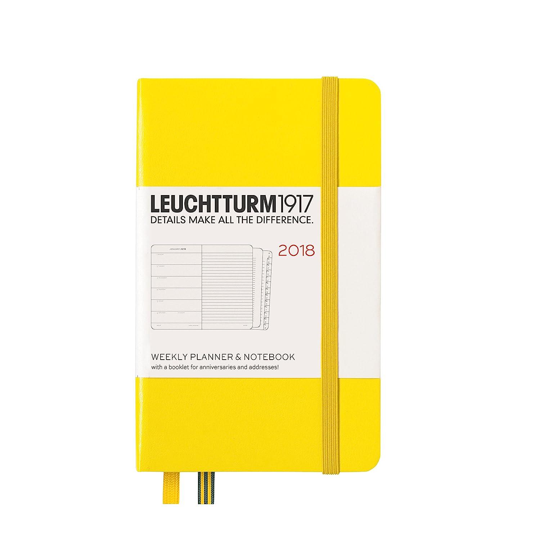 Planificador semanal y cuaderno 2018 Leuchtturm1917, en inglés, color amarillo limón Bolsillo (A6)