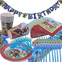 WENTS Cumpleaños Paw Patrol Kit de Vajilla Desechable Paw Patrol Accesorios de Decoración para Fiesta 8 Invitados