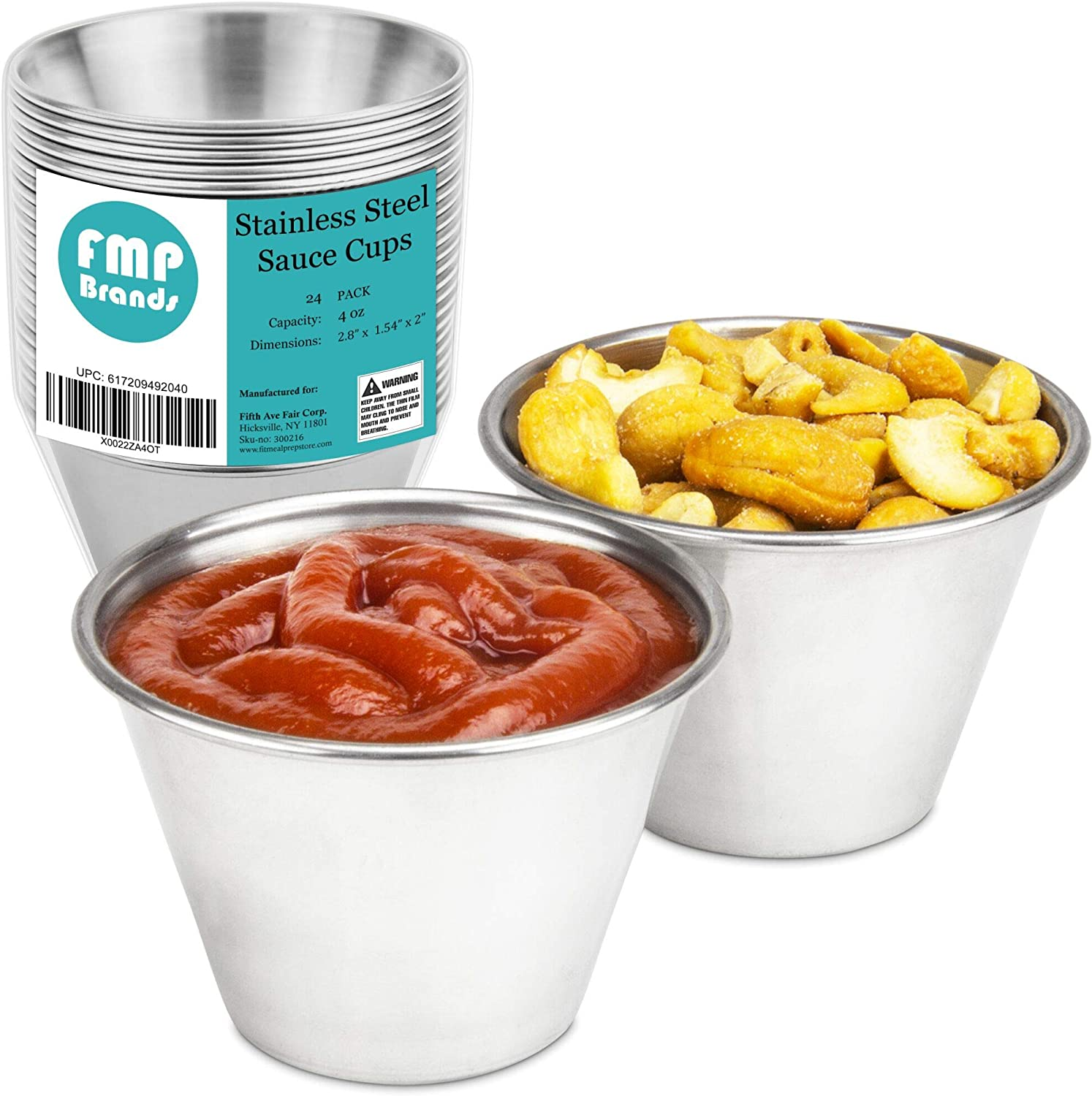 [24 Pack] 4 oz Stainless Steel Sauce Cups - Individual Round Condiments Ramekins, Commercial Grade Safe/Portion Dipping Sauce Kitchen Set