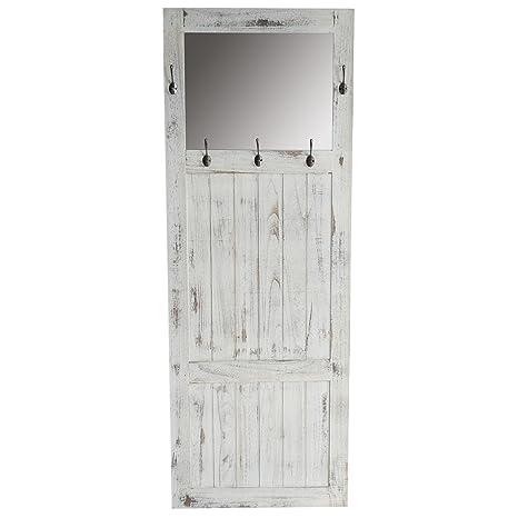 Mendler Garderobe Wandgarderobe mit Spiegel Wandhaken 180x65x7cm,  Shabby-Look, Vintage ~ weiß