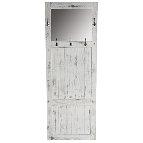 Garderobe Wandgarderobe Mit Spiegel Wandhaken 180x65x7cm, Shabby Look,  Vintage ~ Weiß