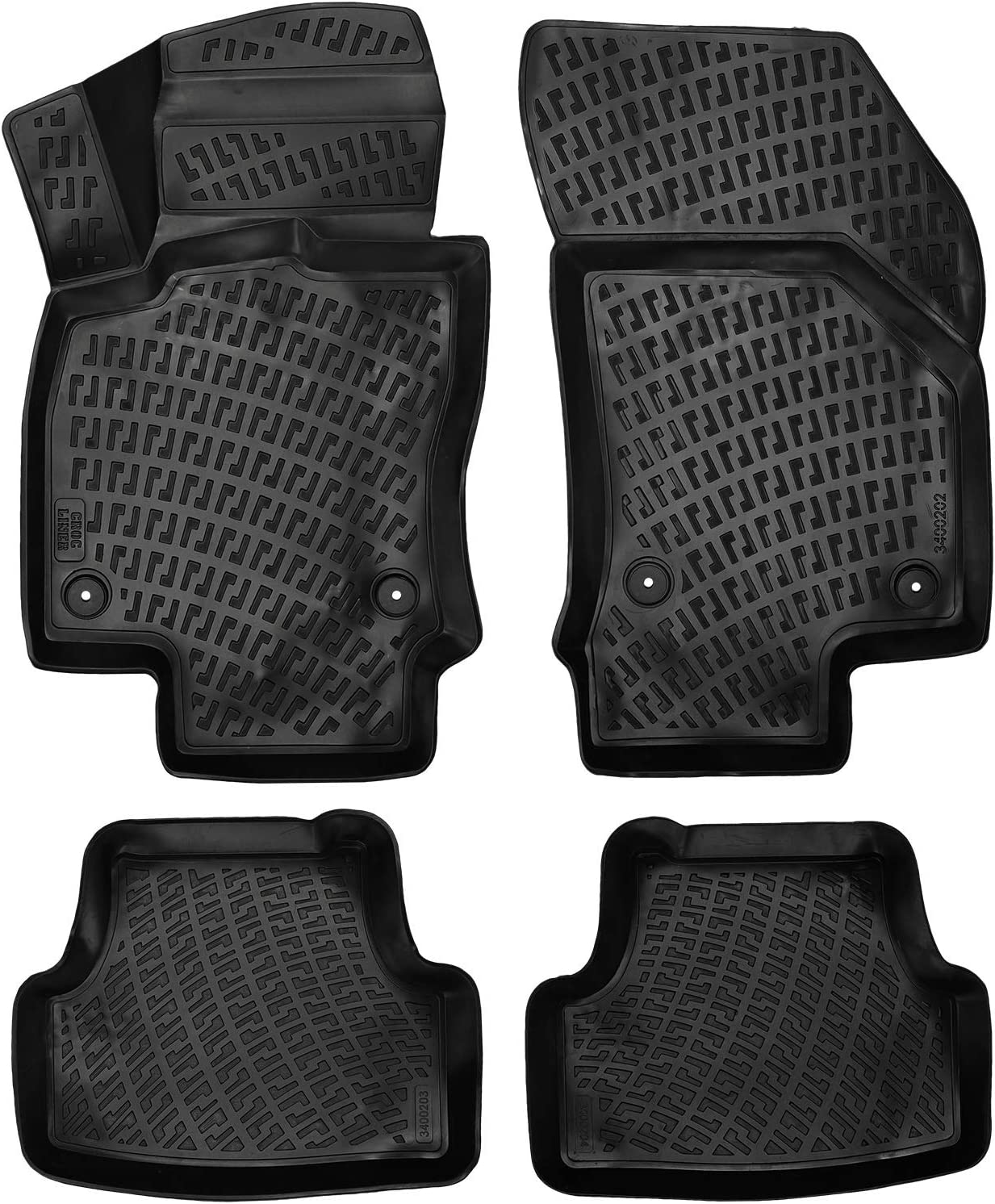 AWEMAT for Honda Civic 2016-present Model Digital Measured Exquisite Pattern Custom Fit Car Floor Mats for-Large Coverage Waterproof-All Weather Protection-Black