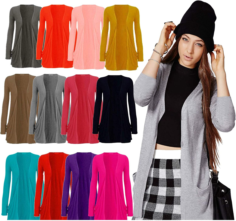 Lyzafashion New Women Ladies Long Sleeve Boyfriend Cardigan with Pockets Plus Sizes 8-26