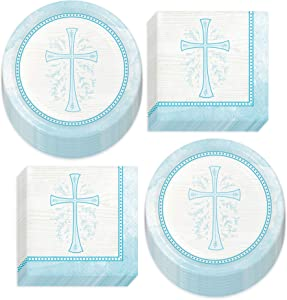 Blue Colored Cross Paper Dessert Plates and Beverage Napkins (Serves 16)