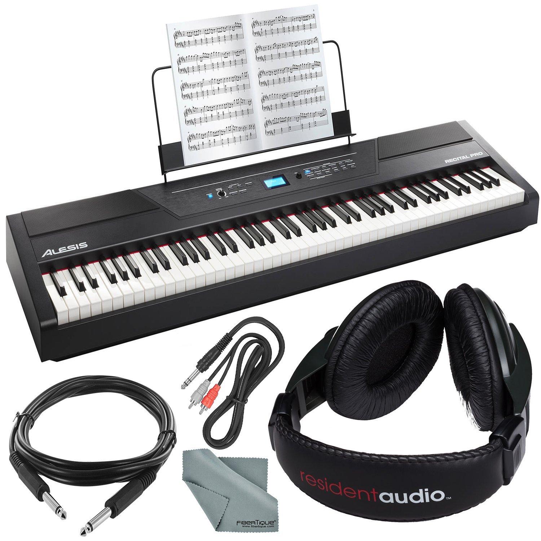 Alesis Recital Pro 88-Key Digital Piano W/Hammer-Action Keys Bundle with Headphones + Cables + Fibertique Cloth