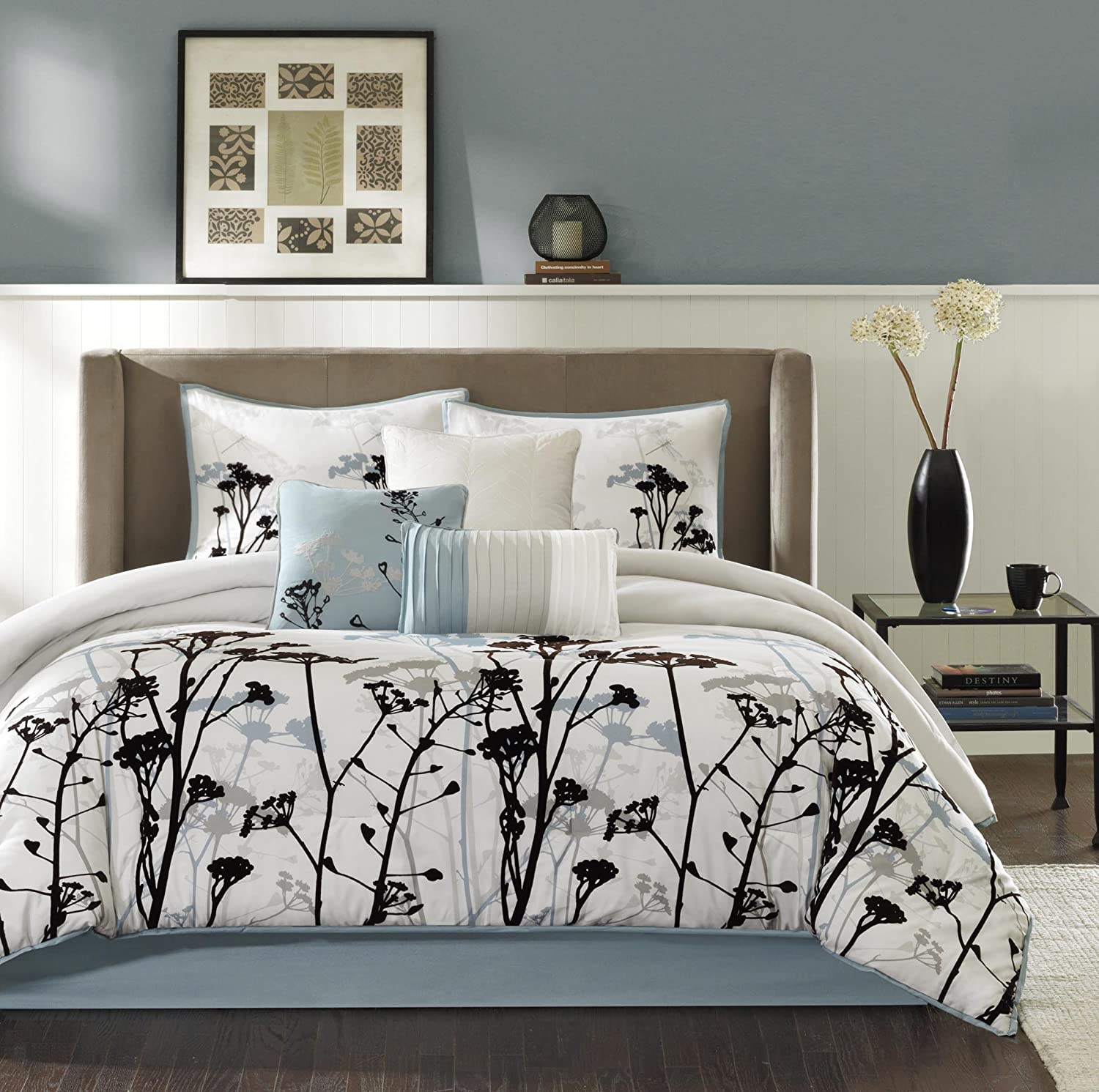 Madison Park Matilda Cal King Size Bed Comforter Set Bed in A Bag - Blue, Ivory, Floral with 3D Velvet Flocking