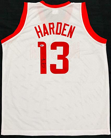 newest 7e357 b456b Signed James Harden Jersey - Home White Beckett BAS COA ...