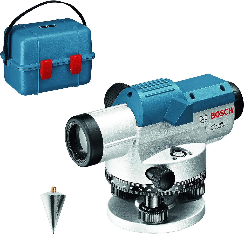 Bosch Professional Nivel Óptico GOL 32 D (aumento 32x, unidad de medida: 360grados, alcance: hasta 120m, en maletín de transporte)