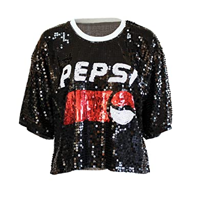 a5fc69aedcf Black Sequin T Shirt - Big Girls Shimmer Top Plus Size Pepsi Cola T Shirt  Short