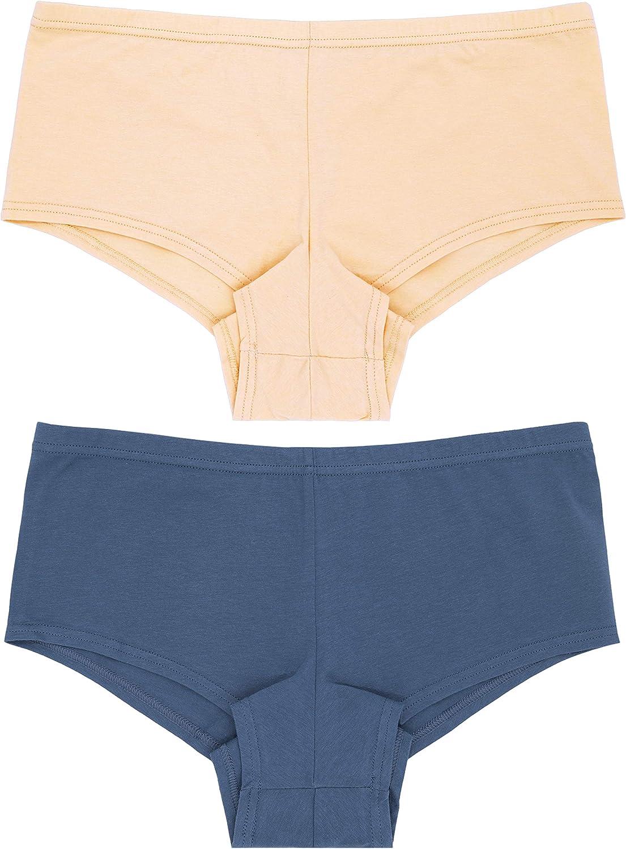 Curve Muse Womens Plus Size Low Mid Waist Cotton Boyshort Hipsters Panties-6PK