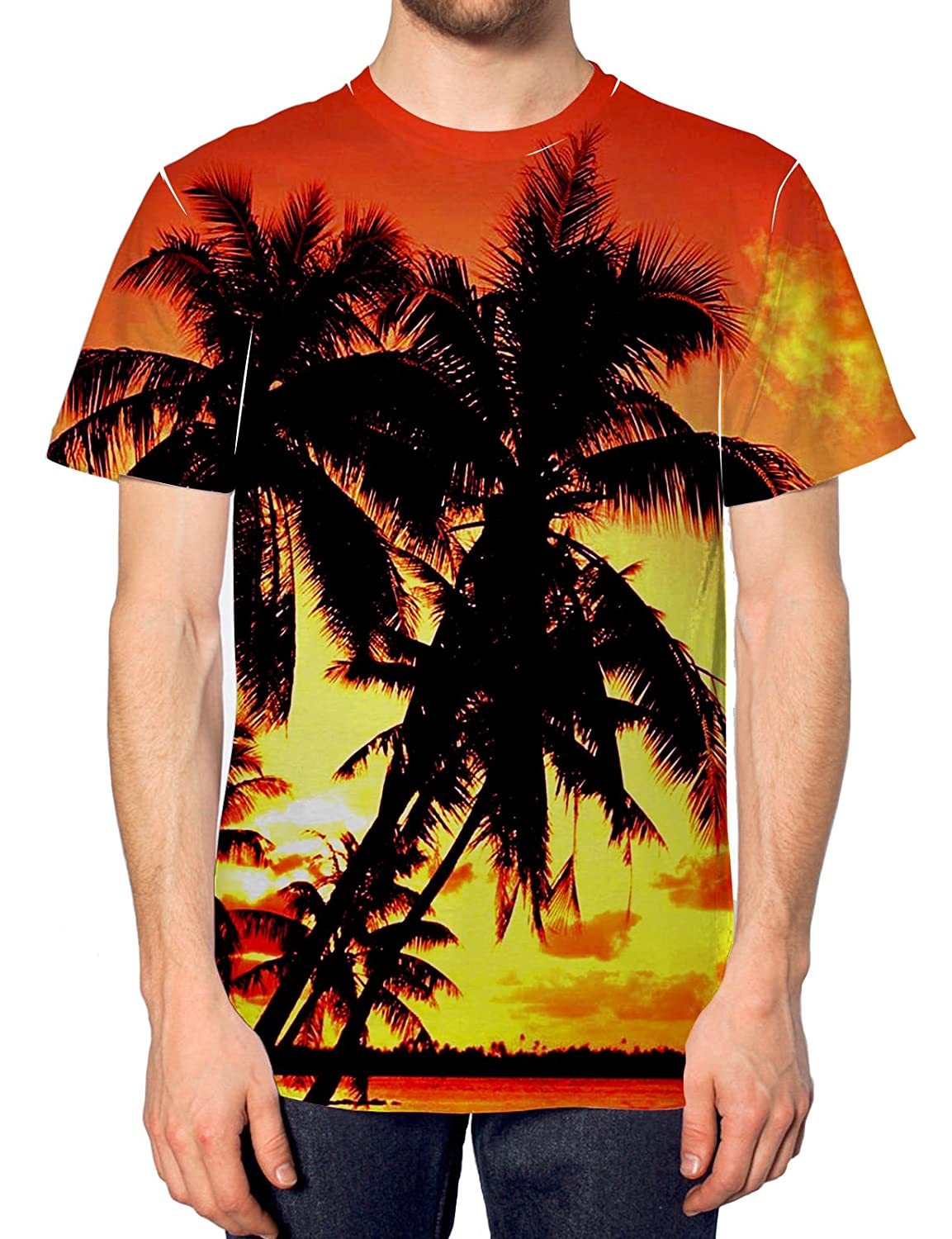 Palm Tree All Over Print T shirt Summer Festival Holiday Swag Indie Hot Tan Men