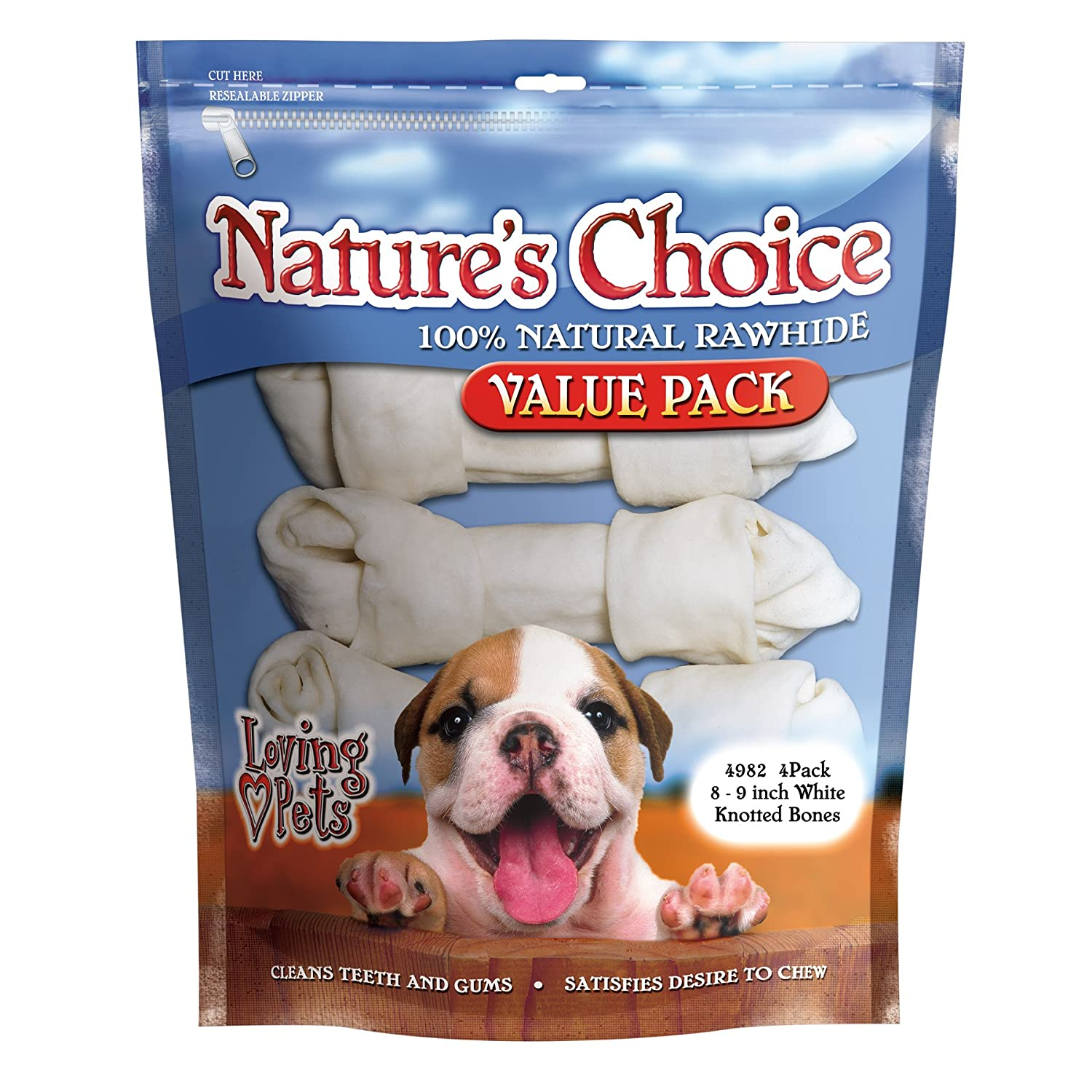 8-9-Inches, 4 Pack Loving Pets Nature'S Choice 100-Percent Natural Rawhide White Knotted Bones Dog Treat, 8-9-Inches, 4 Pack
