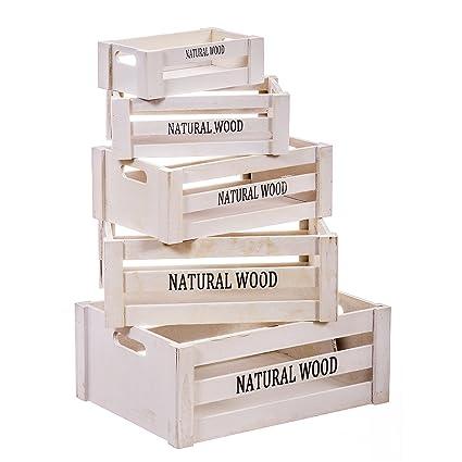 Nahuel Home - Juego 5 Cajas Madera Blanca