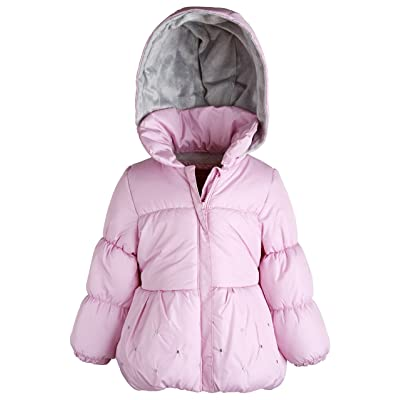 f31314533 London Fog Baby Girls Warm Winter Puffer Jacket with Silky Fleece Lined Hood