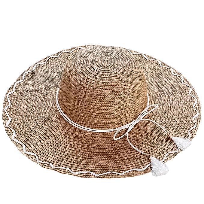 Sombreros de Paja Panamá Mujeres Niñas Cinta tejedor Borla Al Aire Libre  Playa Primavera Verano Sombrero de Sol Marrón  Amazon.es  Ropa y accesorios ee51a7bca7f