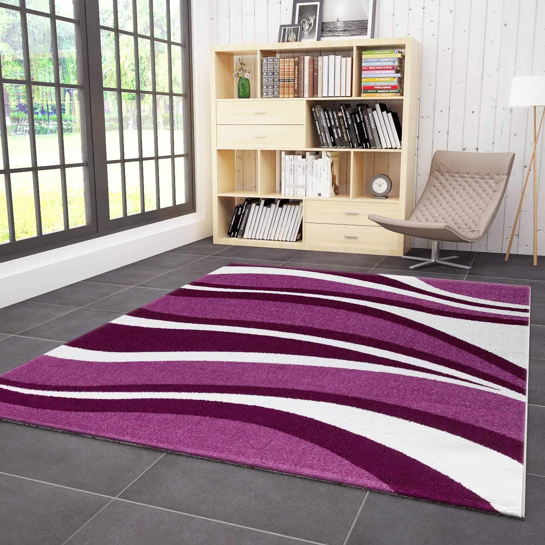 VIMODA Wohnzimmer Teppich Kurzflor Modern Wellen Muster Lila Pink, Maße 160 x 230 cm