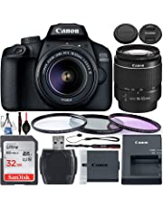 Canon EOS 4000D DSLR Camera with 18-55mm III Lens & Starter Accessory Bundle – Includes: SanDisk Ultra 32GB SDHC Memory Card + 3PC Multi-Coated Filter Set + Memory Card Reader + Cleaning Kit + More