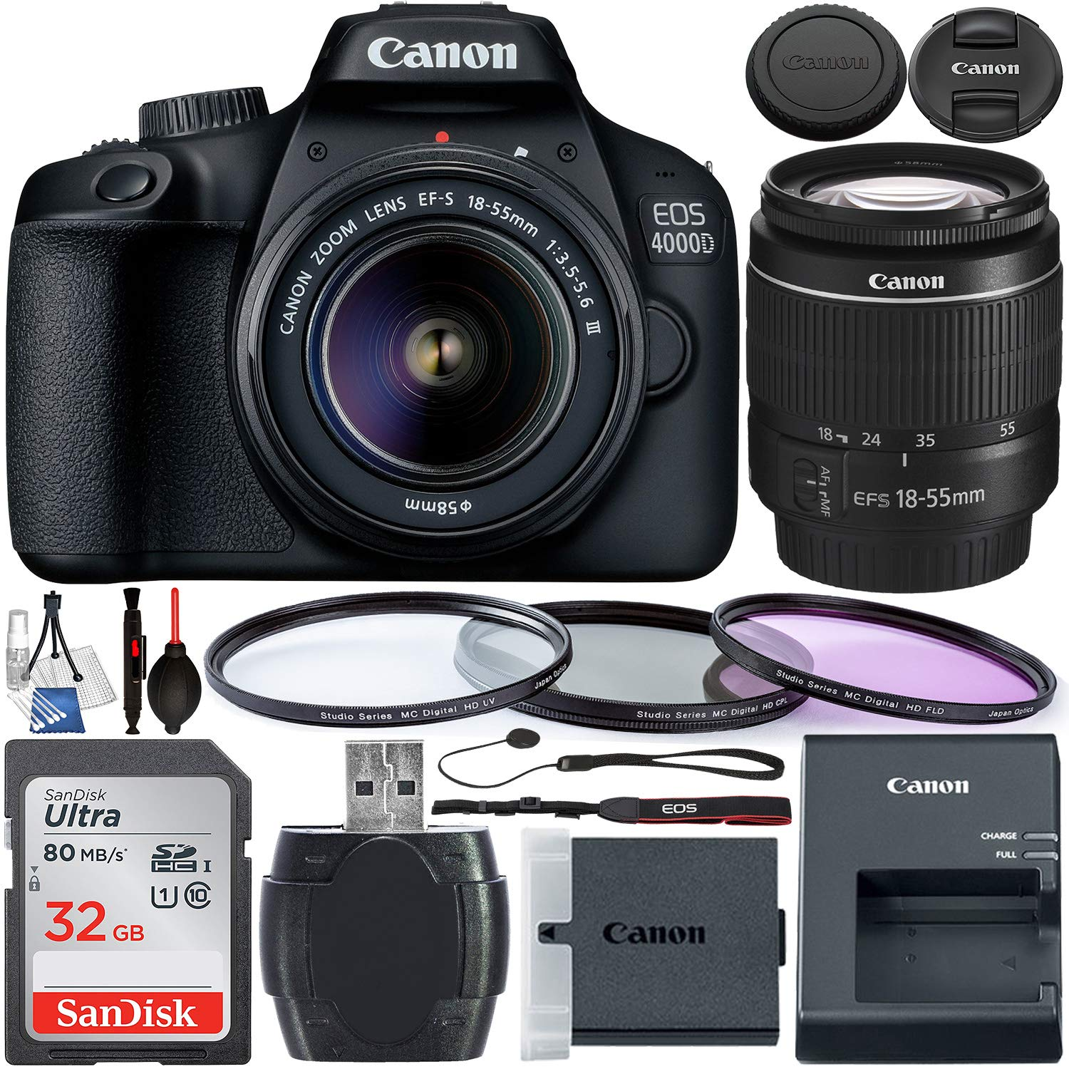 Canon EOS 4000D DSLR Camera with 18-55mm III Lens & Starter Accessory Bundle - Includes: SanDisk Ultra 32GB SDHC Memory Card + 3PC Multi-Coated Filter Set + Memory Card Reader + Cleaning Kit + More by Canon