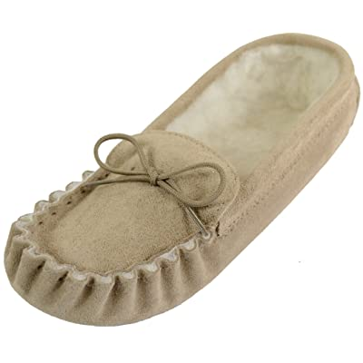 SNUGRUGS Men's Suede Soft Sole Sheepskin Moccasin Slippers | Slippers