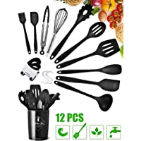 Silicone Cooking Utensils Kitchen Utensil Set with Wooden Handles, BPA Free Nonstick Non-Scratch and Heat Resistant Cookware Set Great Kitchen Tools with Hooks (Black)…