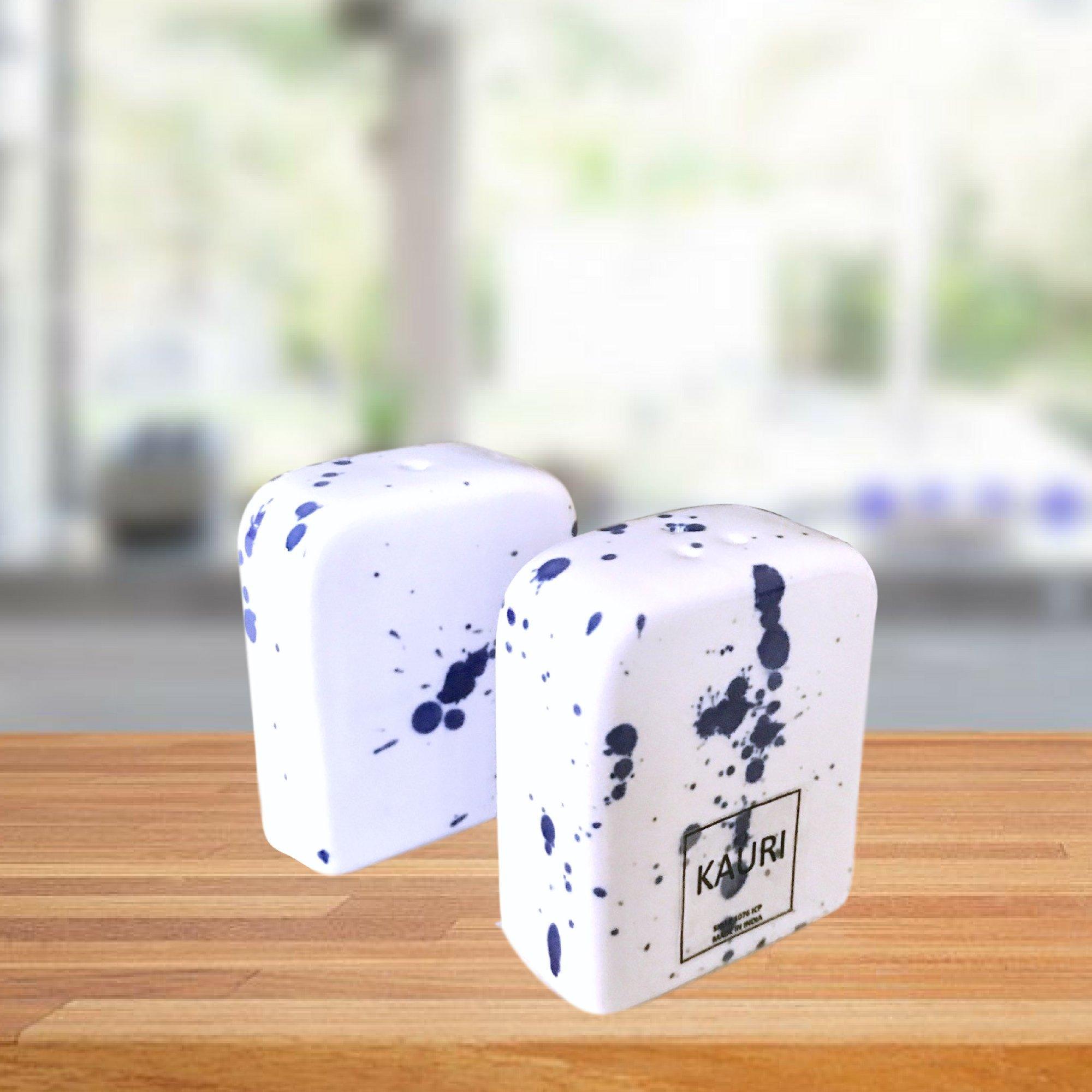 Kauri Ceramic Salt Shaker Set - White Splatter Salt & Pepper Shakers for Cooking and Kitchen Decor