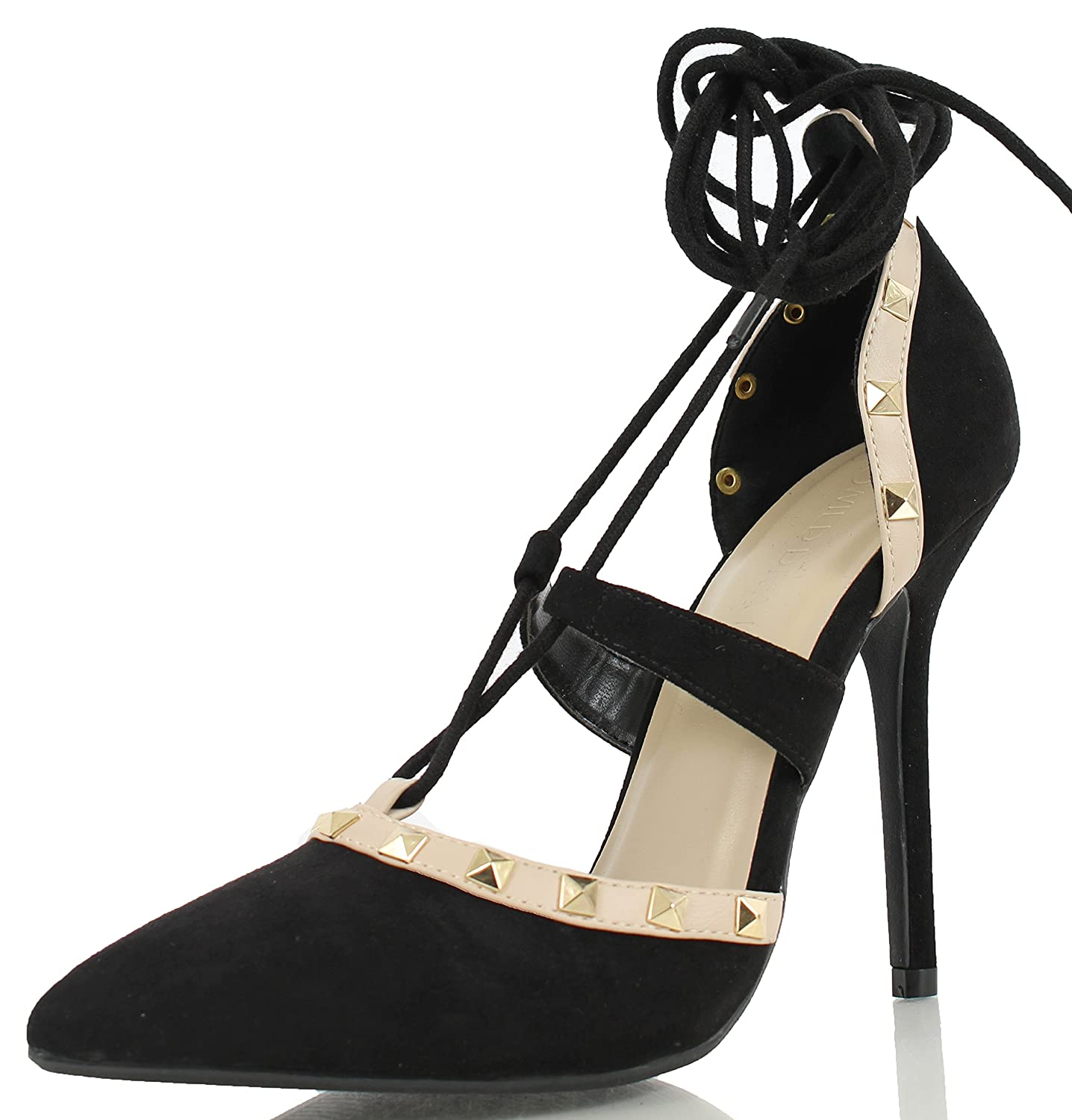 a148643072 Amazon.com   Wild Diva Women's Adora 126 Pointy Toe Lace up Ankle Tie  Studded High Heel   Pumps