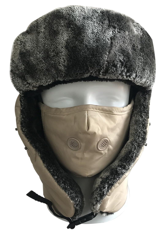 Sombrero a prueba de viento,QMFIVE Sombreros de calientes de invierno Unisex con orejera y máscara de boca al aire libre Escudo de cara…
