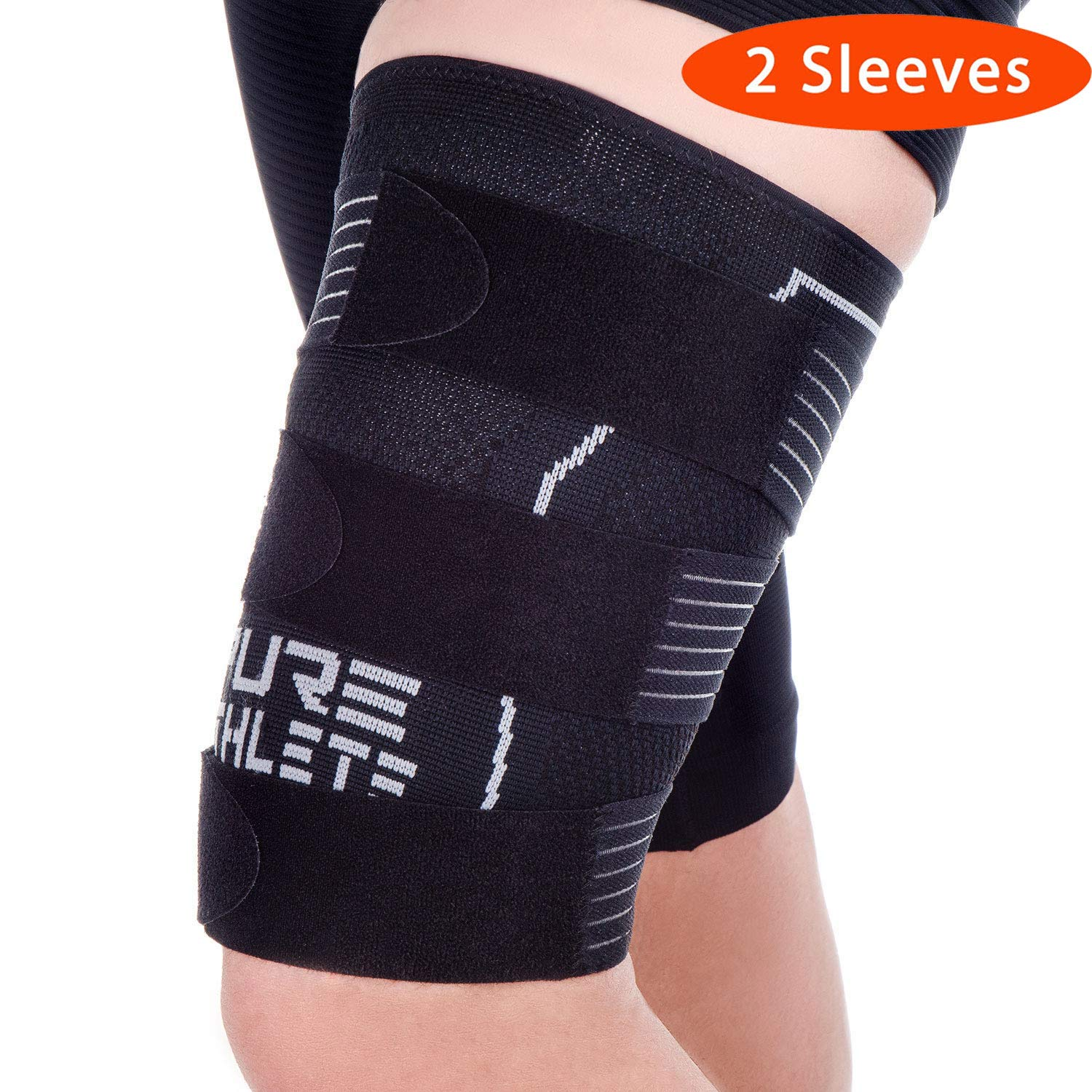 Pure Athlete Thigh Compression Sleeve - Adjustable Straps Quad Wrap Support Brace, Hamstring Upper Leg (2 Sleeves - Black, Medium) by Pure Athlete
