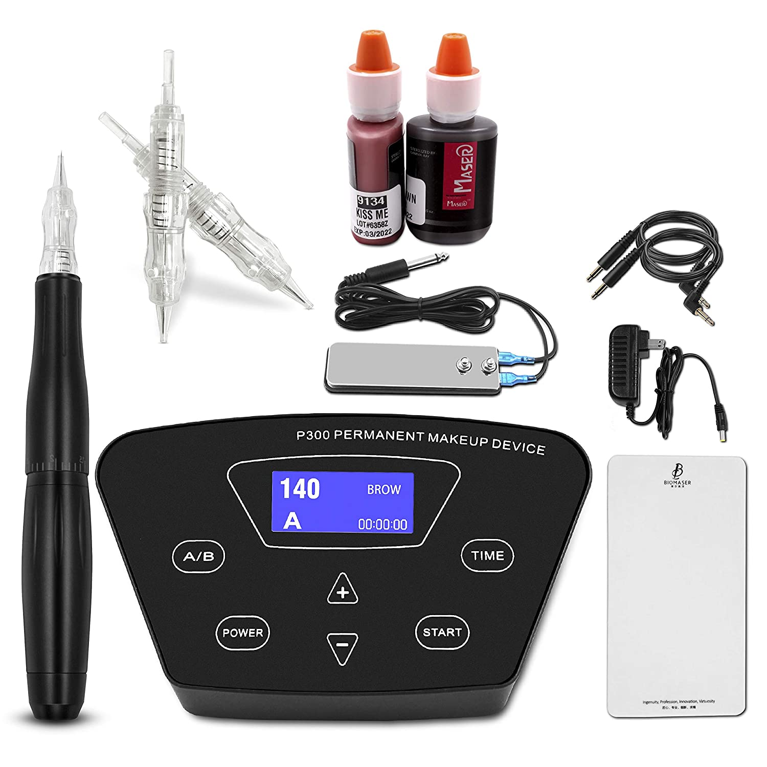 Permanent Makeup Machine - BIOAMSER Permanent Makeup Tattoo Machine Kit with Foot Pedal Touch Control Power Supply Rotary Tattoo Machine Pen Practice Skin 2 Microblading Inks 10pcs Cartridge Needles