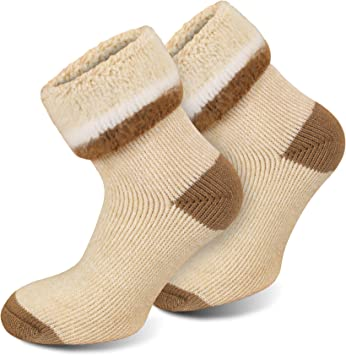 3 pares siempre calientes calcetines térmicos Polar Husky® con lana de oveja, Extrem/Hot/Beige meliert: Amazon.es: Deportes y aire libre