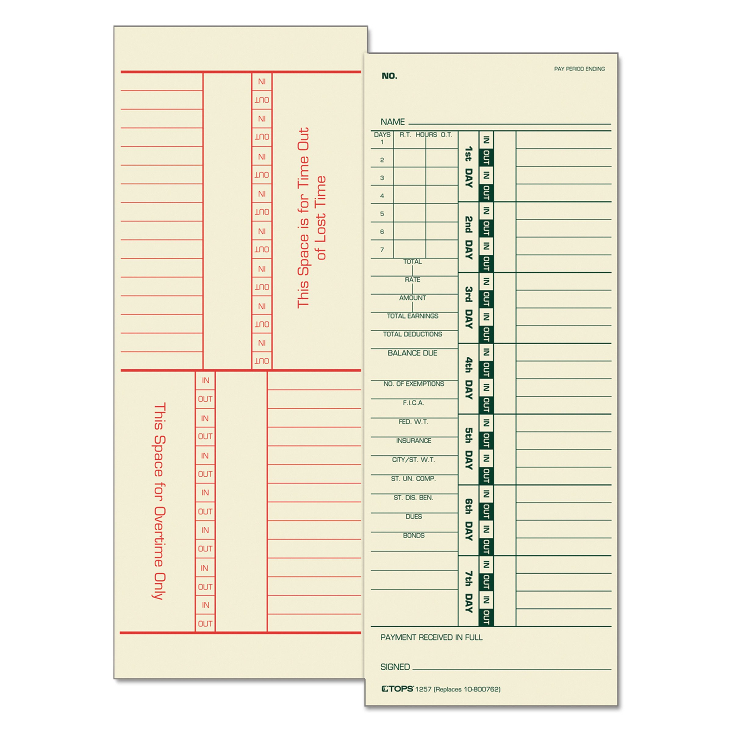 TOPS 1257 Time Card for Acroprint/Simplex, Weekly, Two-Sided, 3 1/2 x 9 (Box of 500) by TOPS