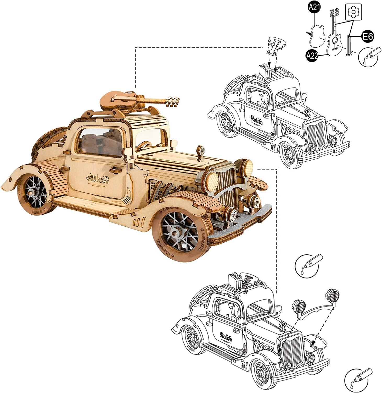 Rolife Build Your Own 3D Wooden Assembly Puzzle Wood Craft Kit Model Vintage Car Gifts Kids Adults