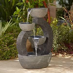 "John Timberland Three Cup 31 1/2"" High Gray LED Cascading Floor Fountain"