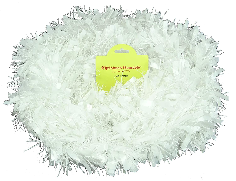 White Chunky/Fine Christmas Tinsel - 3 Metre - Christmas Decoration - Tree Decorations Christmas Concepts®