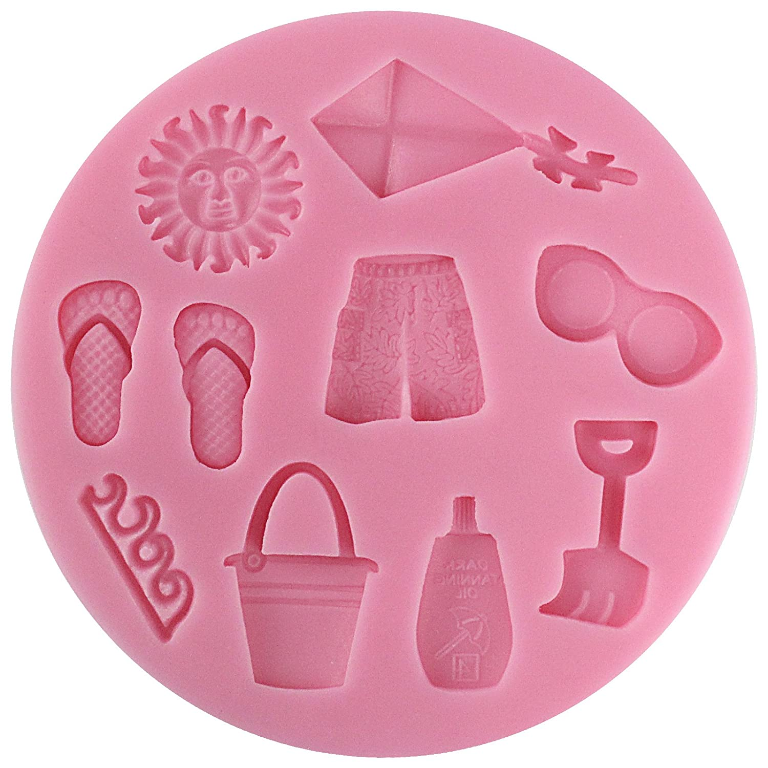 Polymer Clay Funshowcase Beach Holiday Silicone Mold Cake Decorating for Sugarcraft Fondant Crafting Projects Resin